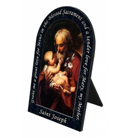 Arched St. Joseph with Baby Jesus Plaque