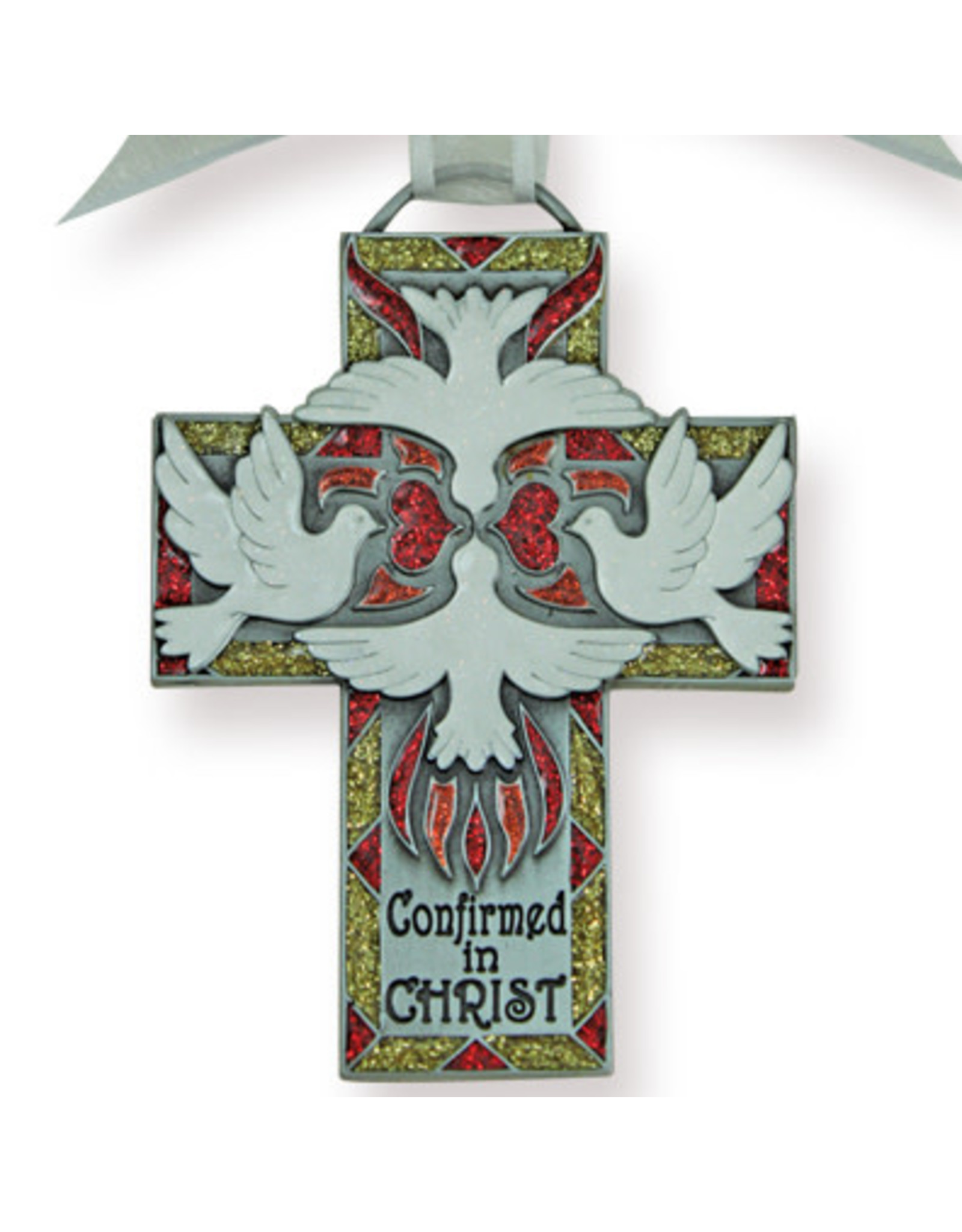 Confirmation Cross - Red and Gold with Doves, 4.5""