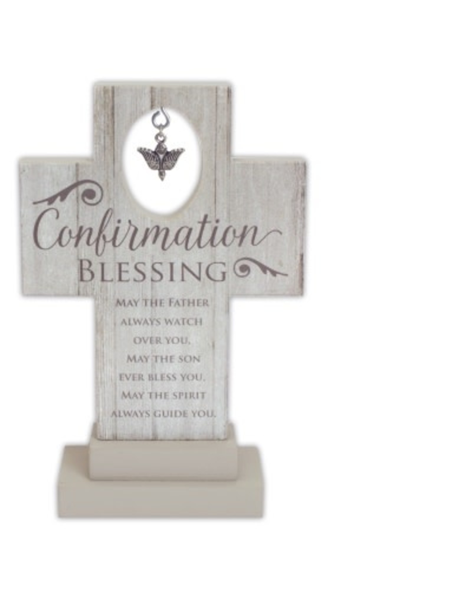 """Confirmation Cross - Standing with Dove Charm, 6"""""""