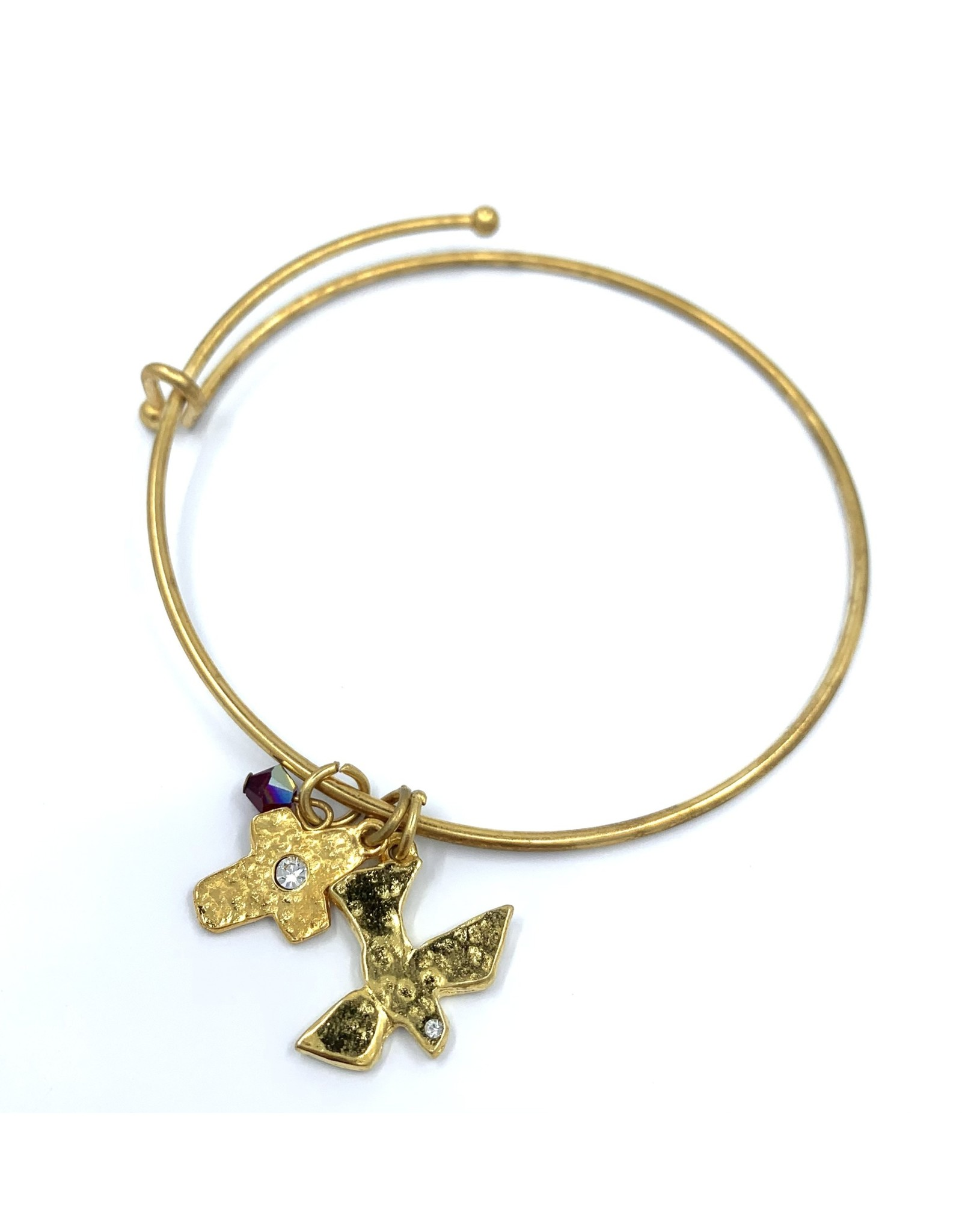 Confirmation Bracelet - Gold Bangle with Dove, Cross, and Gem