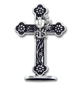 First Communion Cross - Black and Silver with Chalice