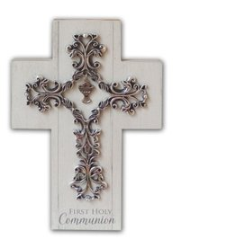 First Communion Cross - Pewter Chalice Charm