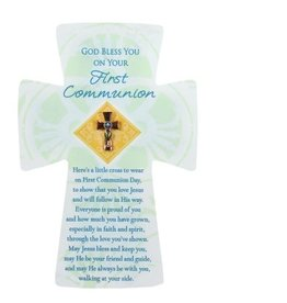 First Communion Pin - Cross with Card