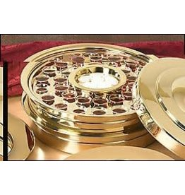 Communion Tray, Stackable-Brass Finish-40 Holes