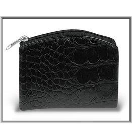 Black Crocodile Skin Pattern Rosary Pouch