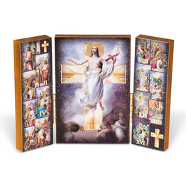 Way of the Cross Standing Natural Wood Triptych