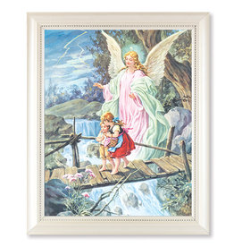 Guardian Angel Picture in White Pearl Frame