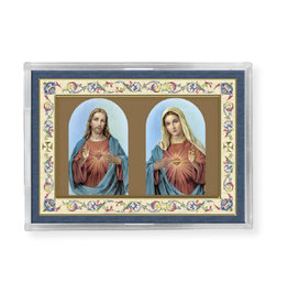 Sacred Heart of Jesus/Immaculate Heart of Mary Acrylic Easel 2.25X3