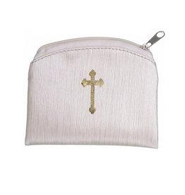 Beige Raw Silk Gold Stamped Rosary Case