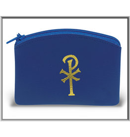 Blue Vinyl Rosary Pouch