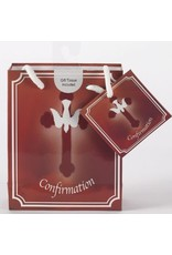 Confirmation Gift Bag -  Red with Cross and Dove (Small)