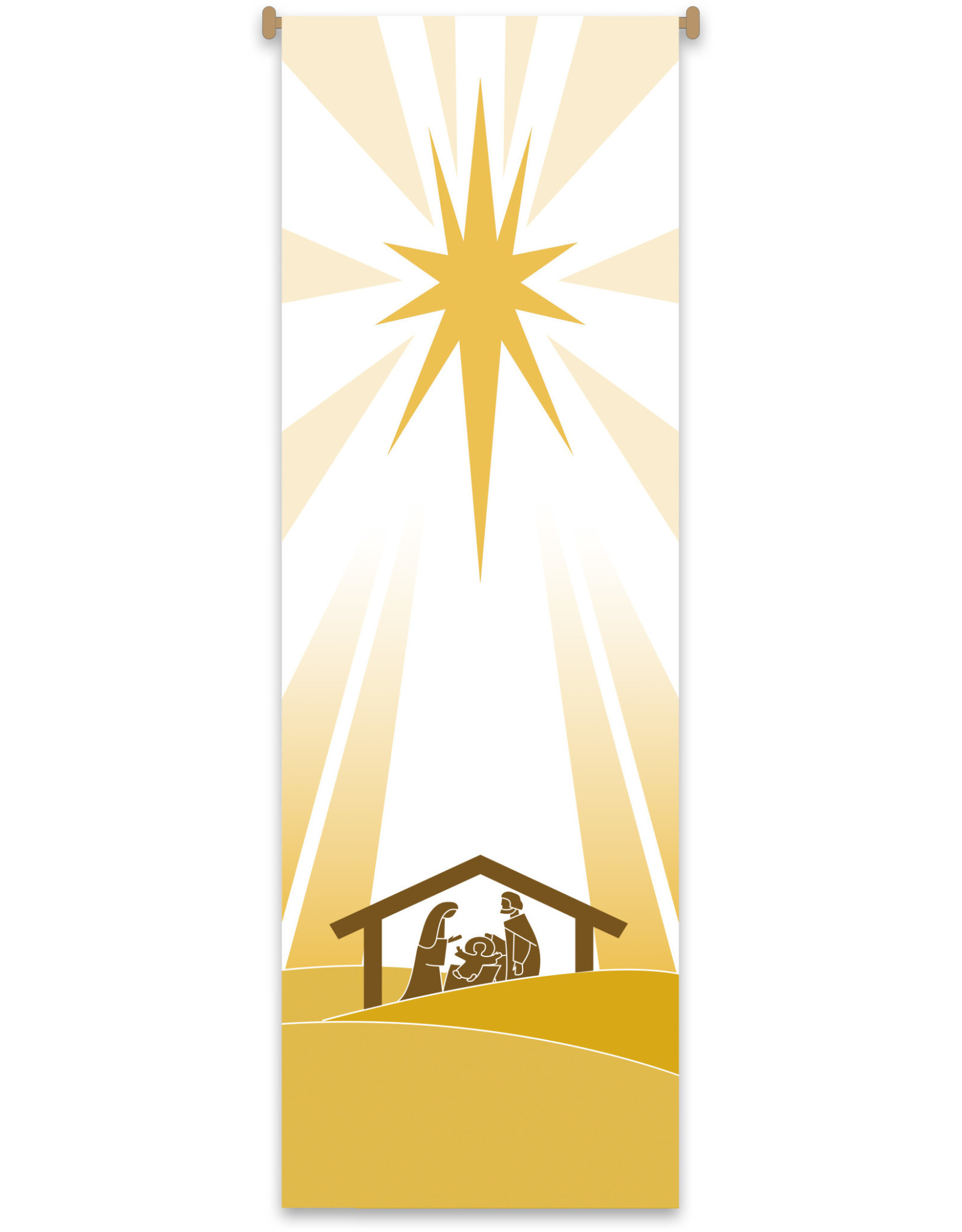 Christmas Holy Family/Creche White & Gold Banner