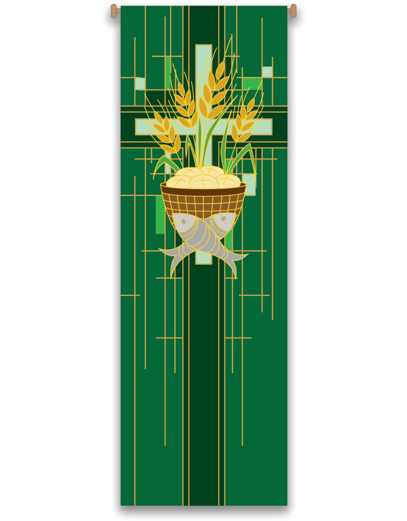 Green Host/Fish/Wheat/Cross Banner