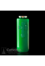 6-Day Green Glass Candles (12)