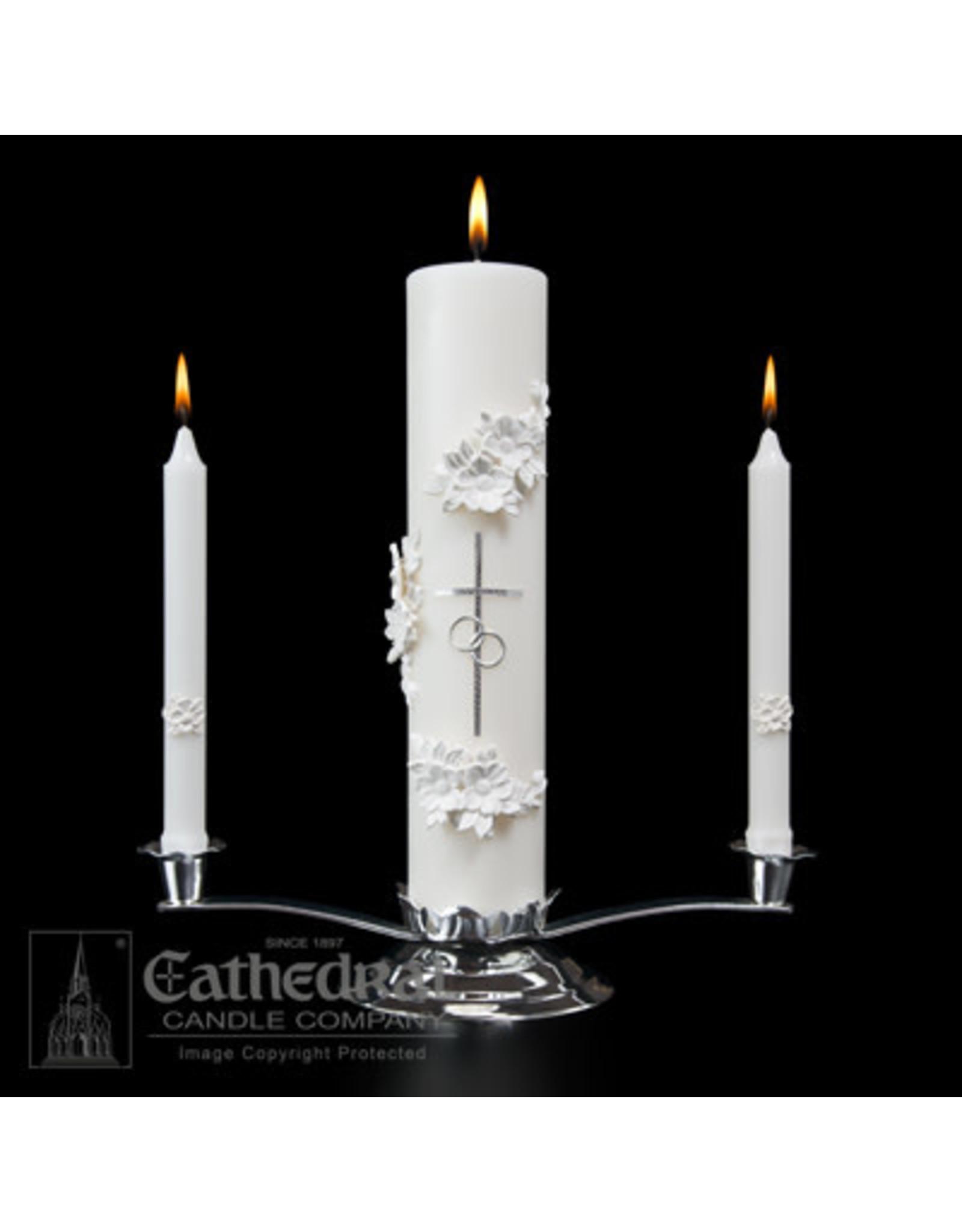 Silver & White Wedding Candle Set