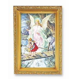 Picture Guardian Angel Antique Gold Frame 4.5x6.5