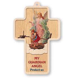 "Cross Guardian Angel Laser Engraved 5"""