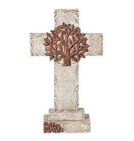 """Standing Cross w/Bronze Tree 10.25"""""""