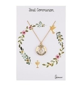 First Communion Carded Gold Necklace