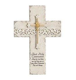 First Communion Wall Cross Stone Finish