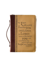 "Bible Cover Large 2-Tone Brown  ""I Know the Plans"""