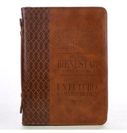 Bible Cover Medium Forro símil cuero Jer. 29:11, café