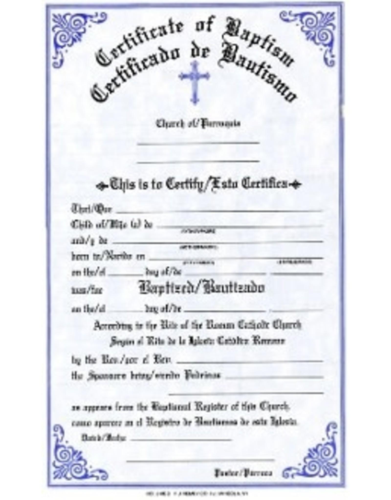 Bilingual Baptism Certificates (Pad of 50)