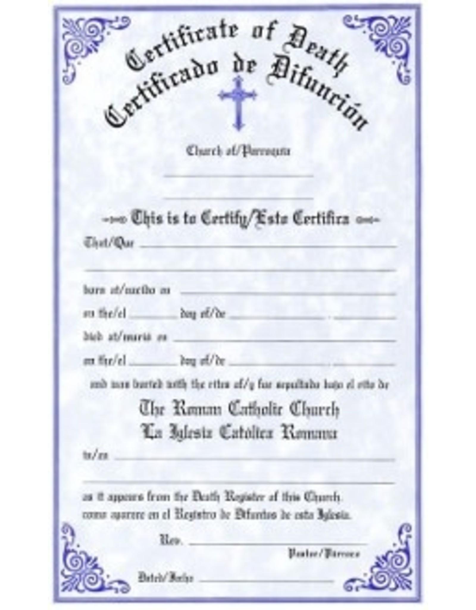 Bilingual Death Certificates (Pad of 50)