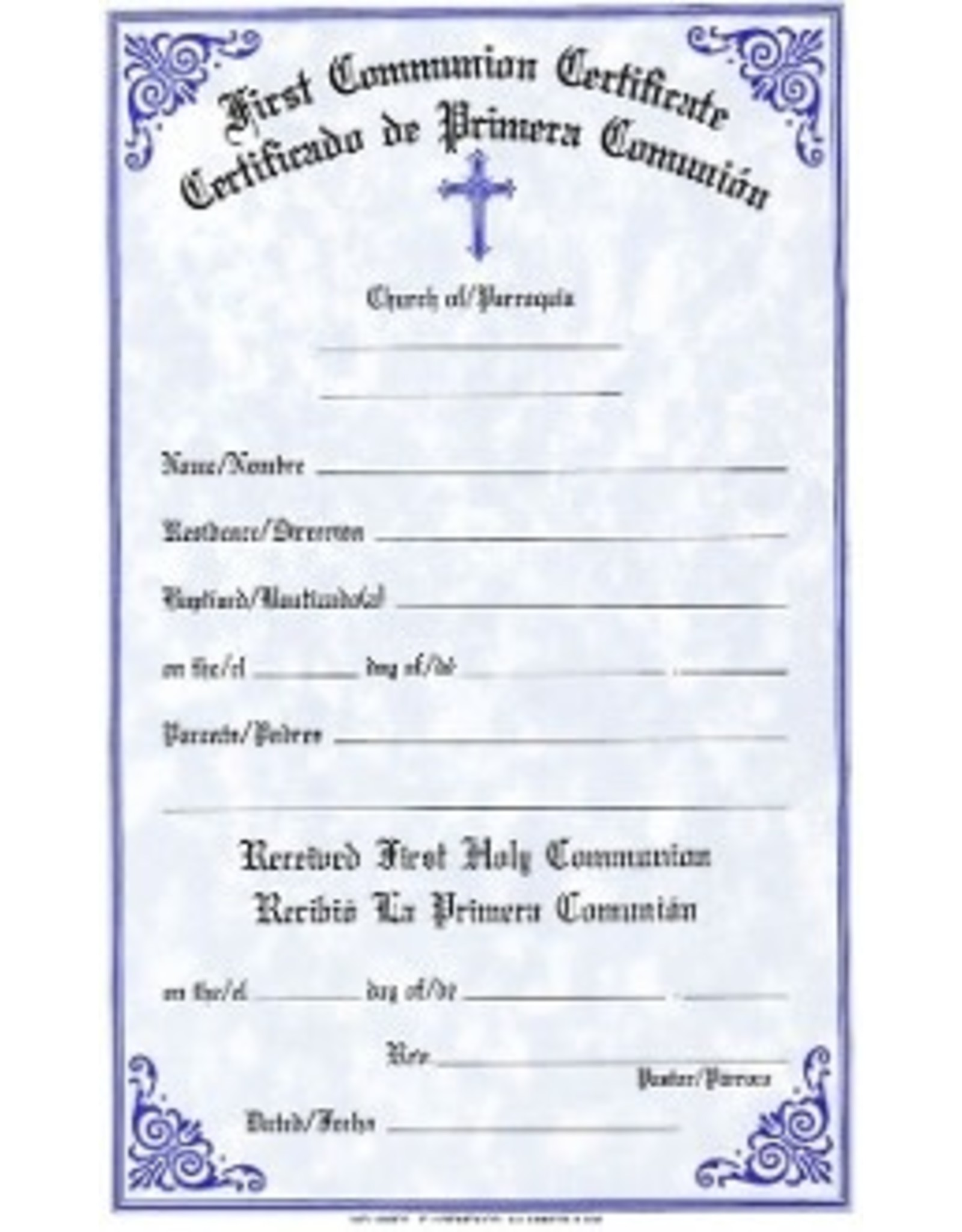 Bilingual First Communion Certificates (Pad of 50)