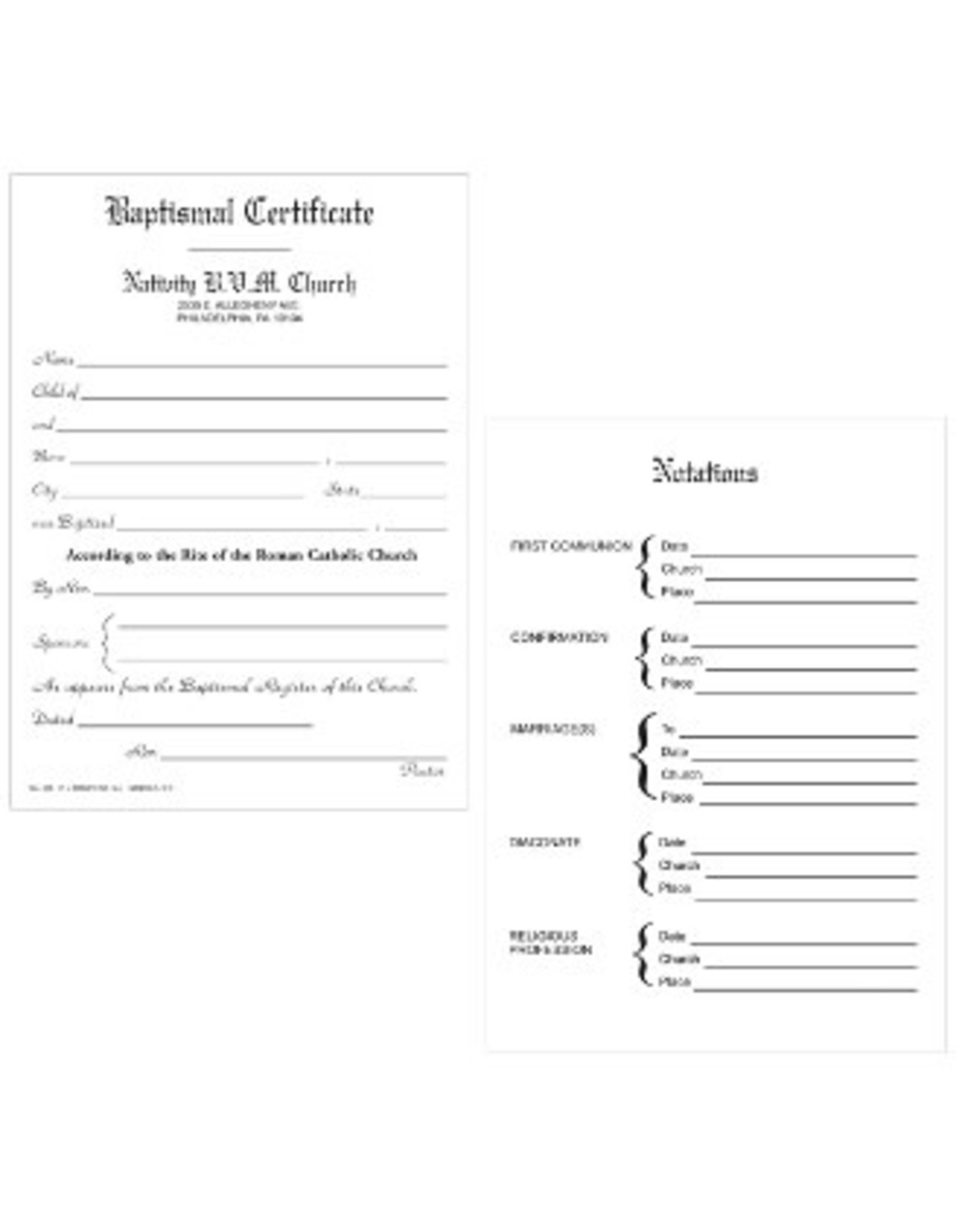 Baptismal Forms - Certificate (Pad of 50)