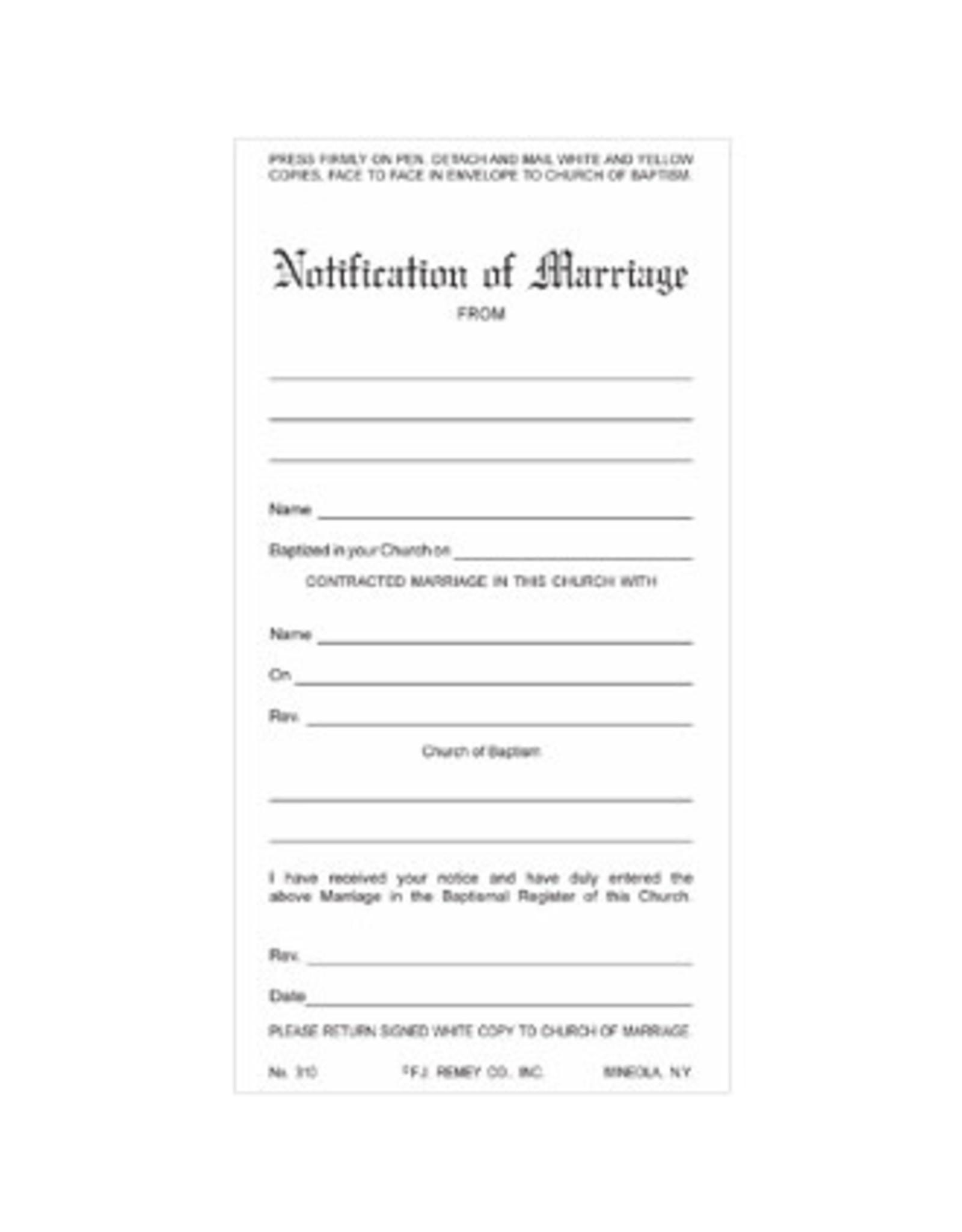 Marriage Notification - 3 Part Set (100)