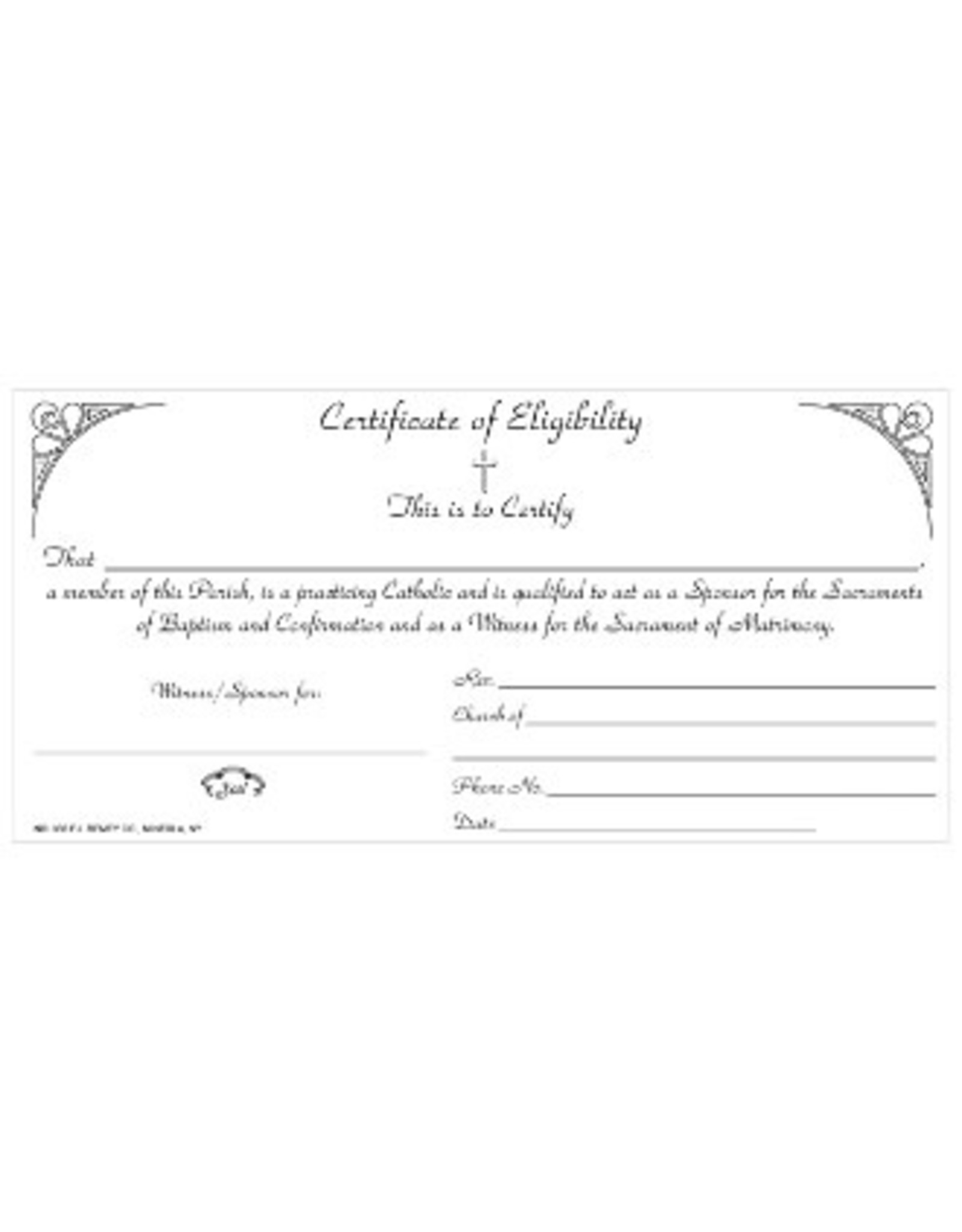 Certificate of Eligibility (Sponsor Certificates) (Pad of 50)