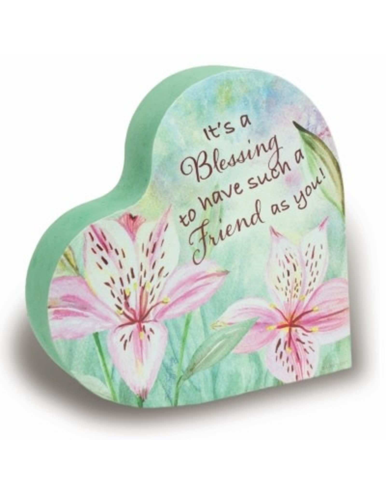 Amazing Friend 2-Sided Floral Heart Block