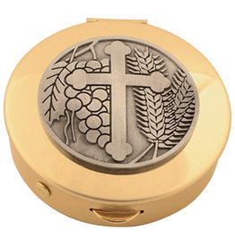 Pyx - Brass/Pewter Cross with Wheat & Grapes