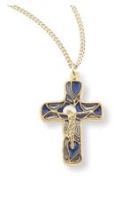 "Blue Enameled Cross Necklace (1 1/4"")"