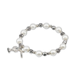 First Communion Pearl and Crystal Rosary Bracelet