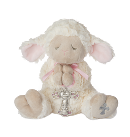 Serenity Lamb with Crib Cross (Pink)