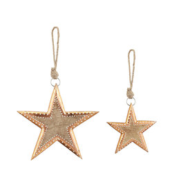 Wood Star Ornaments with Copper Finish (Set of 2)