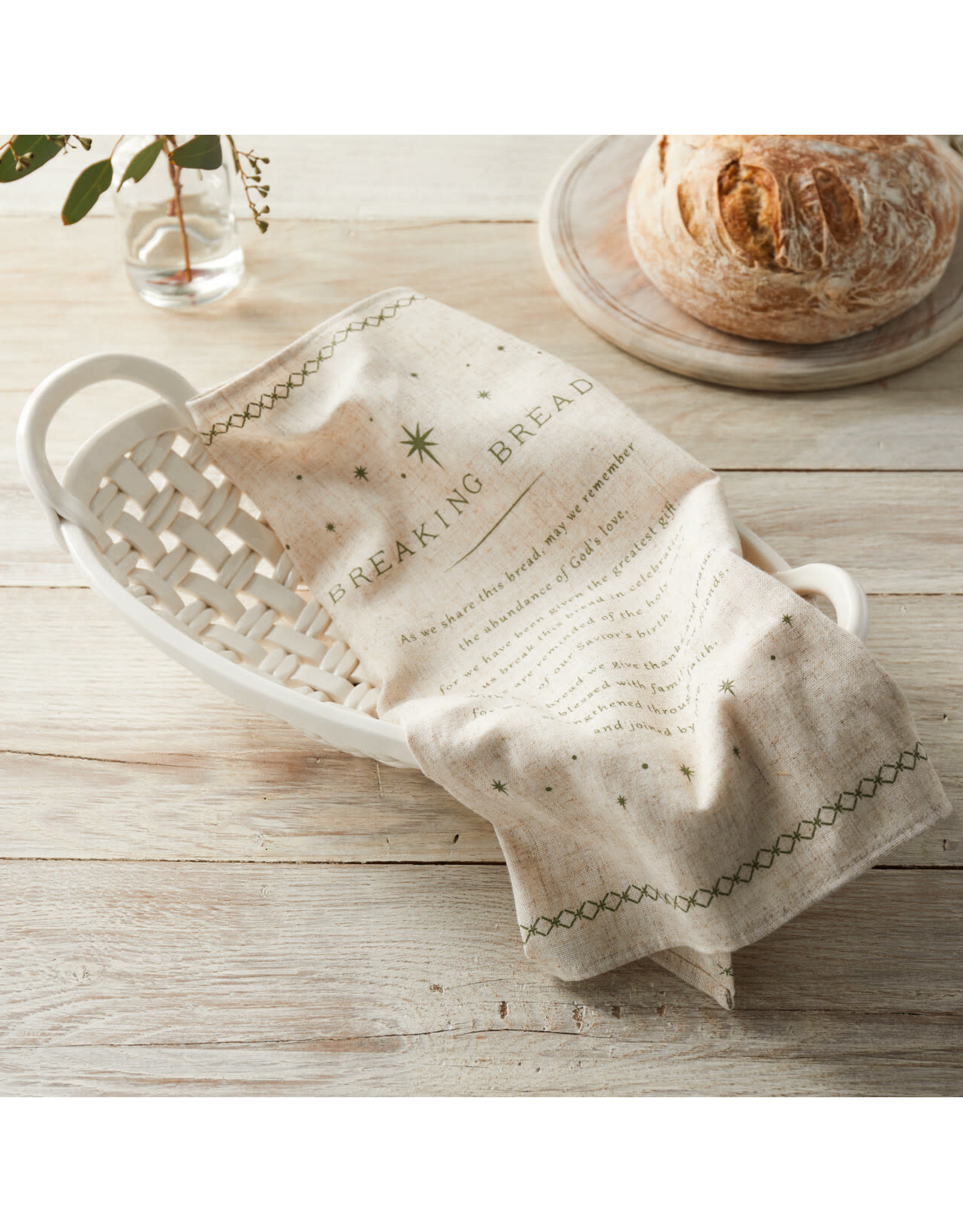 """Breaking Bread"" Ceramic Bread Basket with Tea Towel"