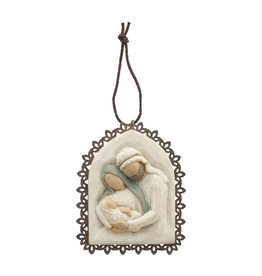 Holy Family Metal-Edged Ornament (Willow Tree)
