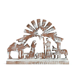 Rustic Standing Wooden Nativity