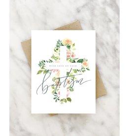 Floral Cross Baptism Greeting Card
