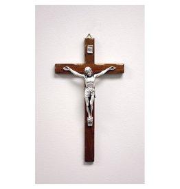 "10"" Crucifix, Dark Wood with Silver Corpus"