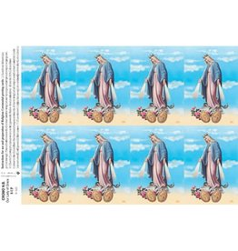 Holy Cards - Laser - Our Lady of Grace/Miraculous Medal (Sheet of 8)