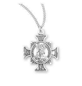 Saint Michael Sterling Silver Maltese Cross