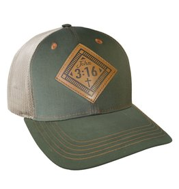 Hat - John 3:16, Leather
