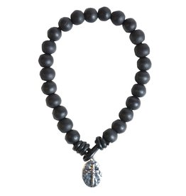 Black Beads with Cross Mens Bracelet