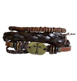Stacked Leather Men's Bracelet (Gold Cross)