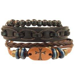 Stacked Leather Men's Bracelet (Copper Cross)