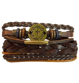 Stacked Leather Men's Bracelet (Crown of Thorns)